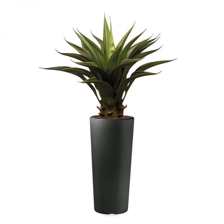 HTT - Kunstplant Agave vetplant in Clou rond antraciet H100 cm - kunstplantshop.nl