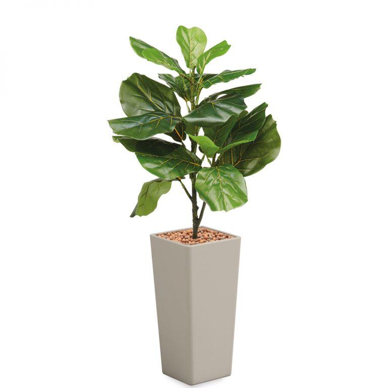 HTT - Kunstplant Ficus Lyrata in Clou vierkant taupe H115 cm - kunstplantshop.nl