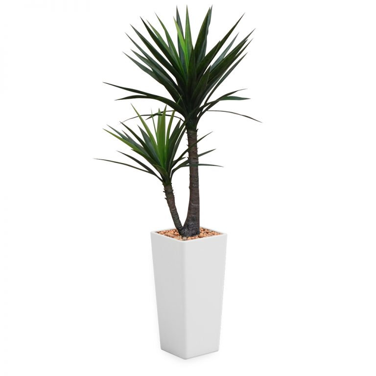 HTT - Kunstplant Yucca in Clou vierkant wit H185 cm - kunstplantshop.nl