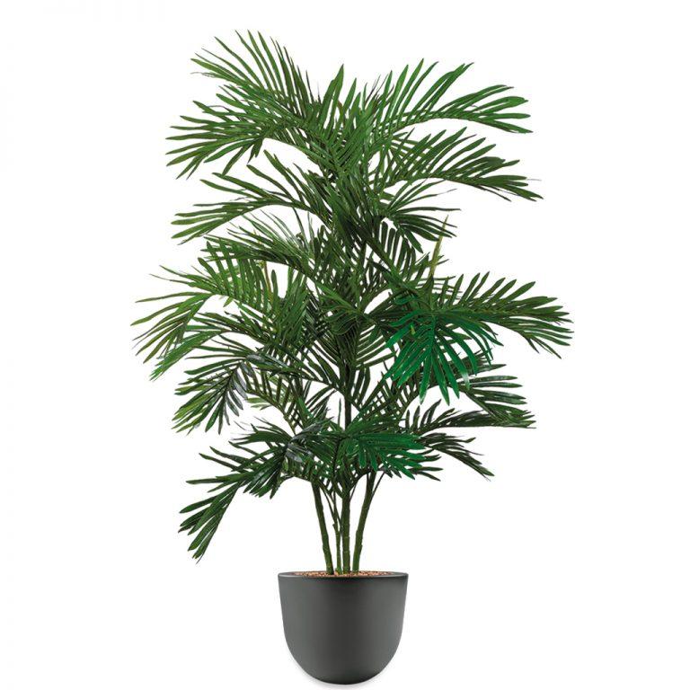 HTT - Kunstplant Areca palm in Eggy antraciet H160 cm - kunstplantshop.nl