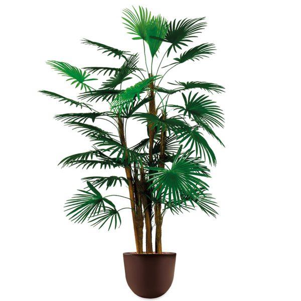 HTT - Kunstplant Rhapis palm in Eggy bruin H135 cm - kunstplantshop.nl
