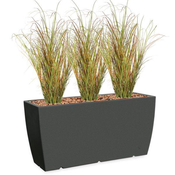 HTT - Kunstplant Siergras in Genesis cassetta antraciet H160 cm - kunstplantshop.nl