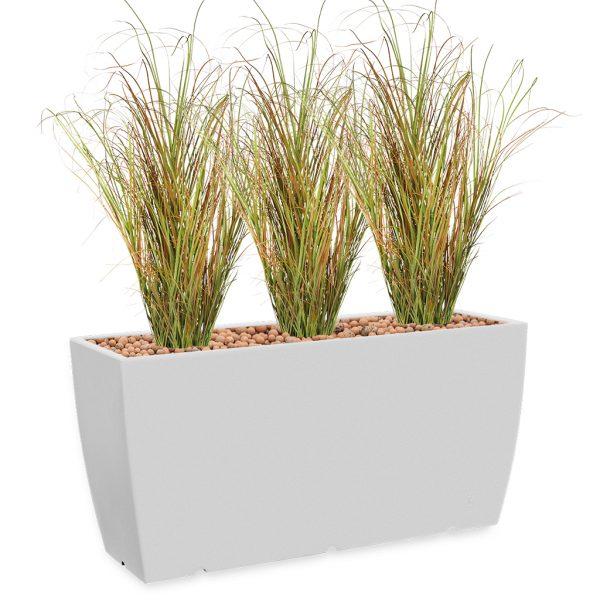 HTT - Kunstplant Siergras in Genesis cassetta wit H160 cm - kunstplantshop.nl